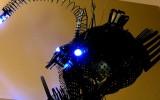 Anglerfish sculpture: upcycled scrap metal